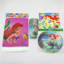 61PCS Happy Baby Shower Little Mermaid Theme Tableware Set Girls Favors Tablecloth Decoration Napkins Birthday Party Cups Plates