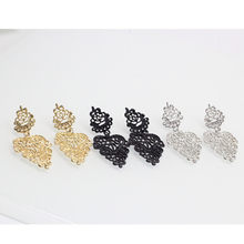 Elegant Hollow Lace Flower Earrings for Women Statement Eardrop Exquisite Metal Earring Fashion Jewelry Wholesale e049(China)