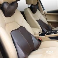 Car Pillow Set Car Headrest Neck Support Pillow Car Lumbar Back Support Pillow Geuine Leather Space