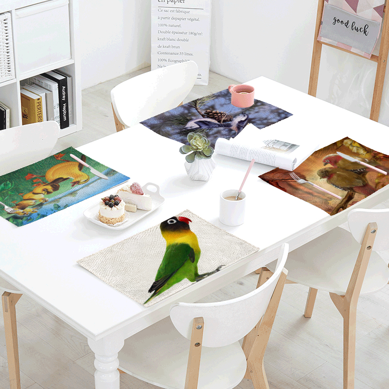 Spring Bird Dew Linens Table Napkins Tea printed Place Mat Birds Swan Polyester Servilletas Para Bodas Design Party Decoration