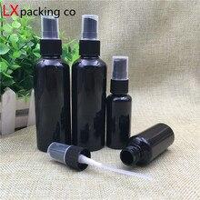 50 sztuk darmowa wysyłka 10 20 30 60 100 150 ML czarne plastikowe butelki z aerozolem mężczyzn opryskiwacz nowe perfumy kosmetyczne pojemniki ciemny Bank