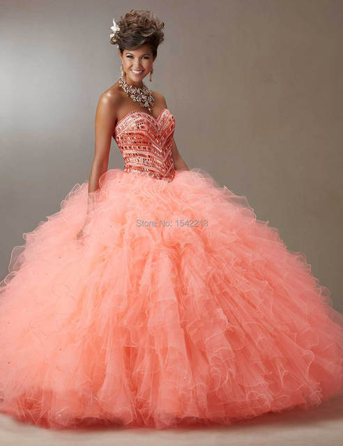 Hot Sale Coral Blue Fuchsia Sweetheart Crystals Beaded Ball Gown  Quinceanera Dresses Special For Girls Sweet 16 Gowns 2017 ff07bd78ff50