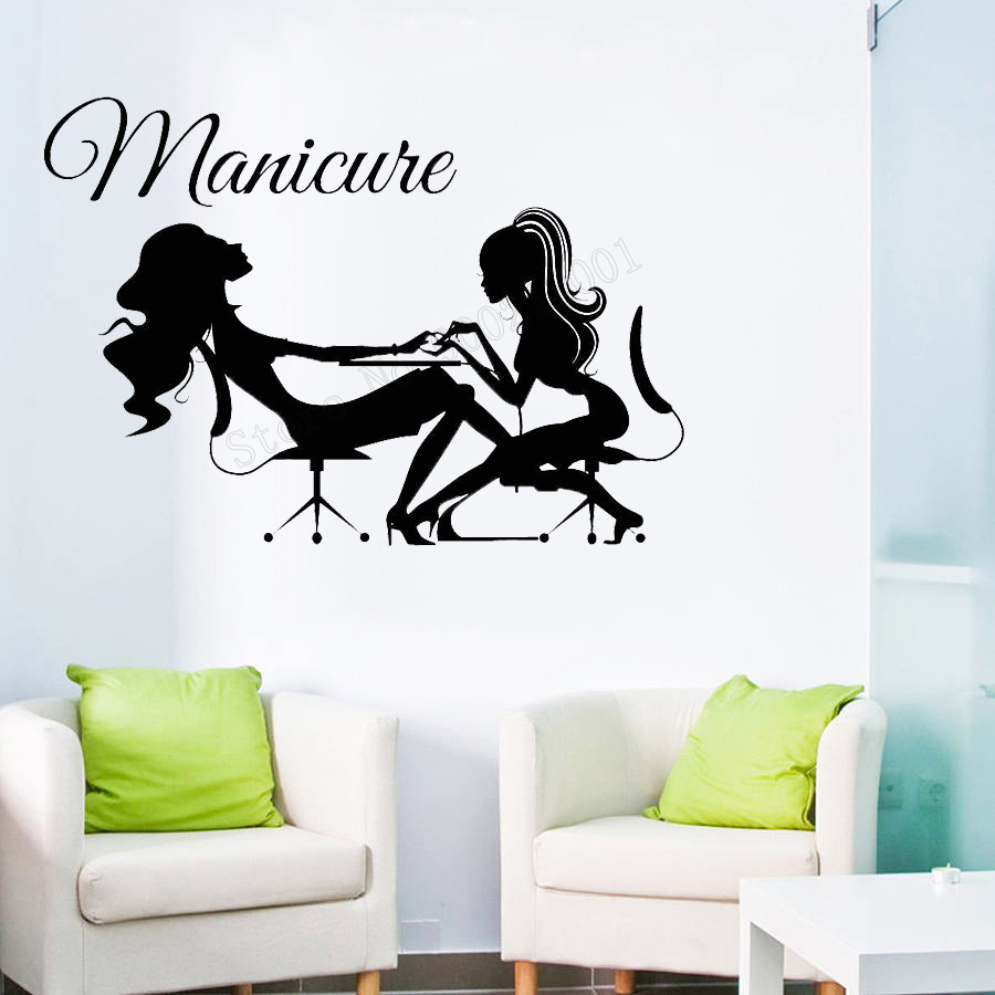 Art Salon Sticker Nails Room Decoration Polish Maincure Poster Quotes Decor Beauty Salon Decor Girls Women Decal Mural LY56 in Wall Stickers from Home Garden