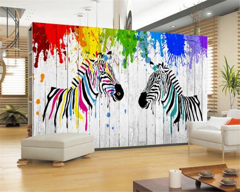 Behang Kinderkamer Zebra : Kinderkamer 3d behang aquarel zebra 3d hout board woonkamer