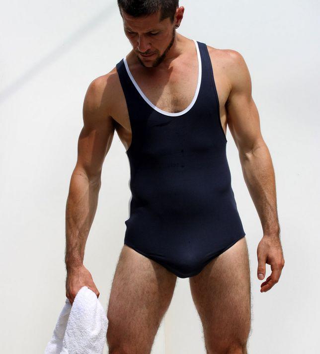 Sexy Men Siamese Vest White Bodysuits Bodywear Leotard Undershirt Erotic Lingerie Free Breathing Thong FX1044