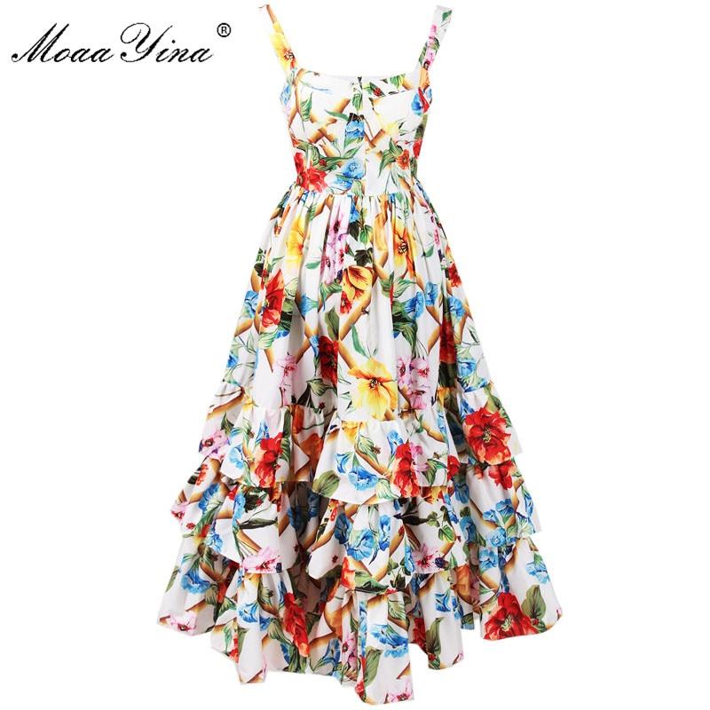 MoaaYina Fashion Designer Runway Dress Spring Women Spaghetti strap Backless Floral Print Ball Gown Cascading Ruffle