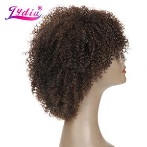 Image 2 - Lydia Afro Kinky Krullend Synthetische Pruiken Natuur kleur Korte Vrouwen Pruiken Kanekalon Hittebestendige Afro amerikaanse Natuur Pruiken