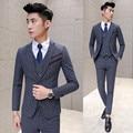 (Jacket +Vest+ Pant) Formal Suit New Fall Winter Business Wedding Suit for Groom Slim Fit New Designer Suit Black Navy Wine Red