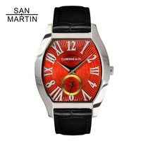 San Martin Women Vintage Tonneau Watch Automatic Enamel Watch 18K gold Dial Sapphire Glass 30 Water Resistant Montre femme watch