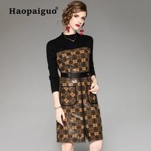 XL Plus Size Snake Print Winter Dress Women O-neck Long Sleeve OL Office Dress Women Knitted Casual Midi Dress Vestidos Largos цены