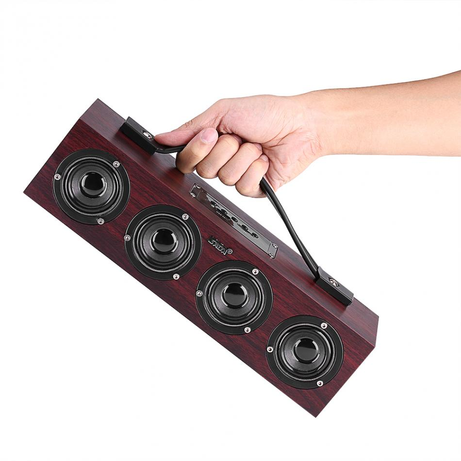 SADA A1 Portable Wooden Wireless Bluetooth Speaker Computer Subwoofer Stereo Bass Multimedia Speakers Support USB TF Card