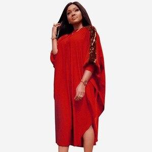 Image 1 - Afrikanische Kleider Für Frauen Pailletten Afrika Kleidung Muslimischen Lange Kleid Hohe Qualität Länge Mode Afrikanischen Kleid Für Dame