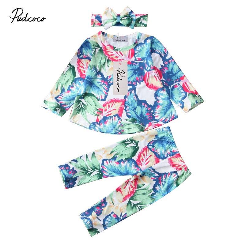 6M to 5T Kids Baby Girs Clothes Flower Long Sleeve Tops+Blouse Pants Leggings+Headdress  ...