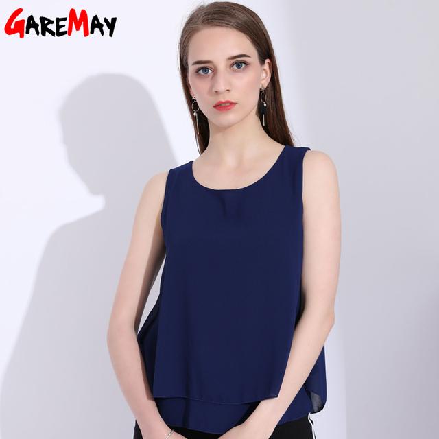 GAREMAY Chiffon Women Tank Top Casual Loose Sleeveless Chiffon Shirt Ladies Tops 5XL Plus Size Fashion Woman Top Summer 2018