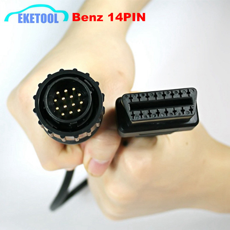 For Benz 14Pin To 16Pin OBD2 Car Adapter Connector MB Star Sprinter 14PIN To 16PIN Converter OBD OBD2 Cable Free Shipping