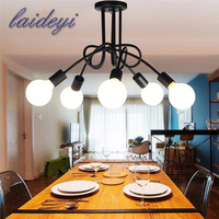 1PCS 5 Heads American Style Pendant Lights E27 Iron Handelier Modern Pendant Hanging Lamp For Dinning