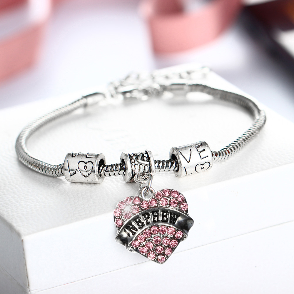 Crystal Love Heart Charm Pendant Bracelets Engraved NEPHEW Family Gifts Chain Beads Bang ...