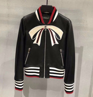 Chic women real sheepskin leather jackets embroidery women bomber jackets coats D616
