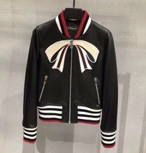 Chic women real sheepskin leather jackets embroidery bomber coats D616