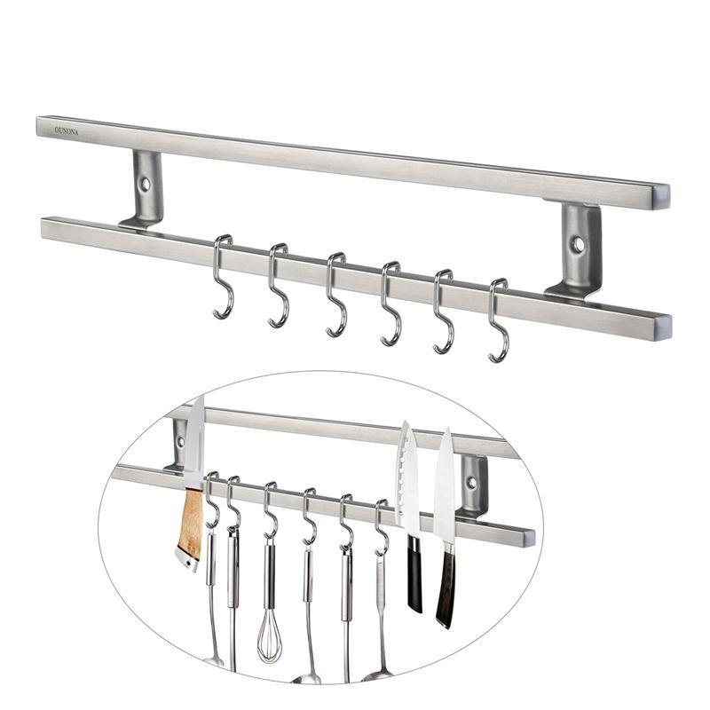 16 Inches Rvs Blok Wandmontage Magnetische Mes Houder Dubbele Bar Mes Rack Voor Messen Gebruiksvoorwerpen En Keuken Sets