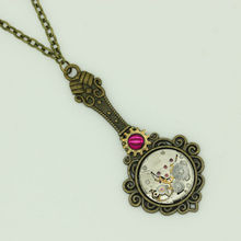 Handmade Steampunk Pendant Mirror Necklace With Vintage Watch Old Movement Mechanical Handmade Jewelry