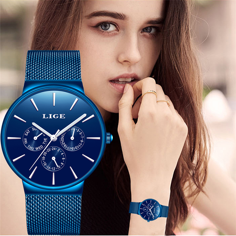 2019 LIGE New Full Blue Women Watch Business Quartz Watch Ladies Top Brand Luxury Female Wrist Watch Girl Clock Relogio Feminin