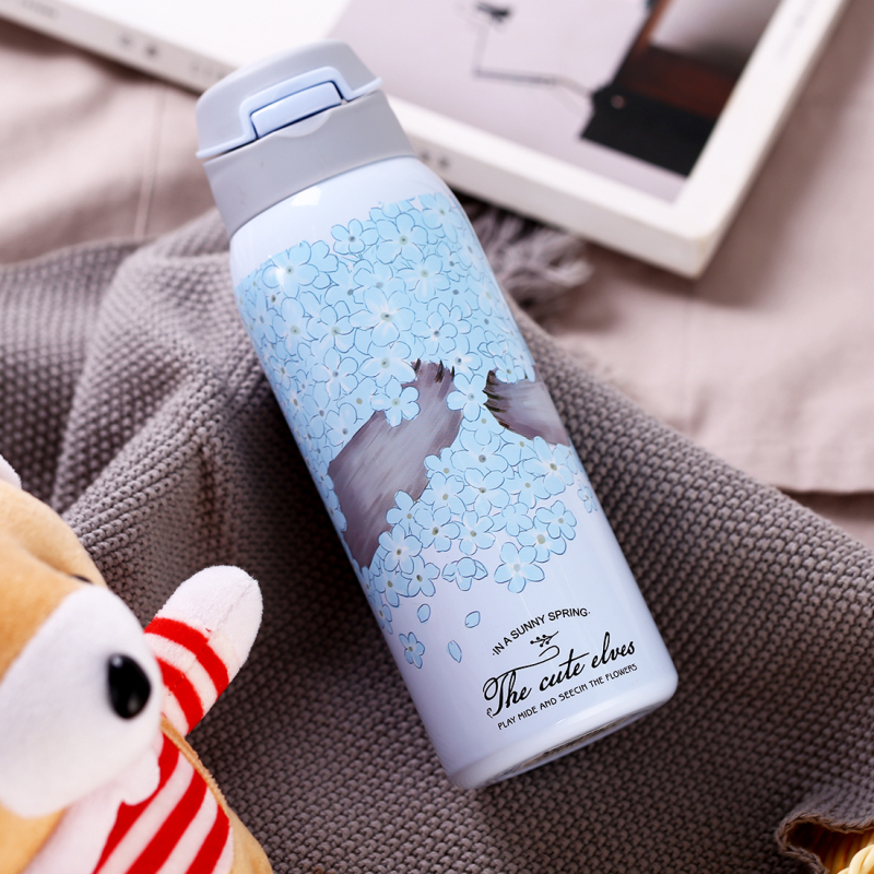 HTB1MF0ZXFY7gK0jSZKzq6yikpXa1 380/450ML Double Wall Sport Tea Coffee Thermos Hot water bottle 304 Stainless Steel Vacuum Flask mug with straw insulated cup
