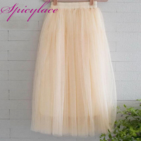 Women Sexy Long Chiffon One Size Candy Color Pleated Skirt 2018 New Fashion Skirts Solid Mesh