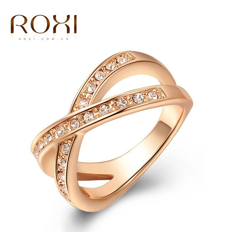10pcs/lot 2017 ROXI Charms Cross Ring White/Rose Gold Crystal ...