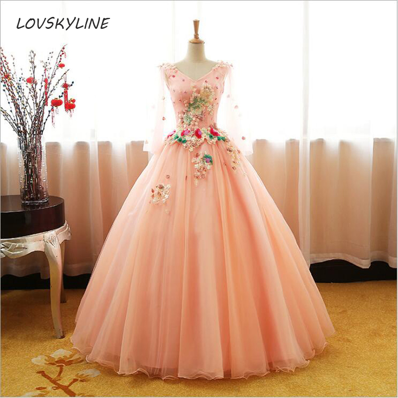 Quinceanera Dresses  For 15 Appliques Long Sleeves V-neck 16 Ball Gowns Party Dress Performance Dress Custom Plus sizes