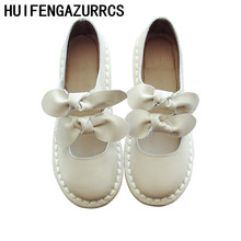 HUIFENGAZURRCS-Sweet Butterfly-knot Literature and Art Leisure Single Shoes,Genuine Leather Super-soft sole shoes,3 colors