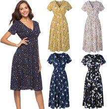 Vestido de festa feminino plus size, casual, cintura elástica, vestido boho, praia, estampa floral, vintage, chiffon, midi