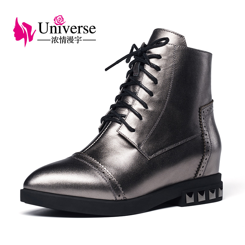 Universe fashion women ankle boots lace up casual shoes women cow leather boots pointed toe ladies shoes E214 front lace up casual ankle boots autumn vintage brown new booties flat genuine leather suede shoes round toe fall female fashion