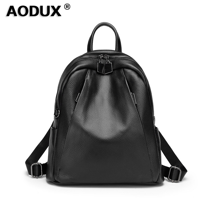 Aodux 2018 Fashion 100 Soft Natural Genuine Cow Leather Shoulder Backpack Women Ladies Girls First Layer
