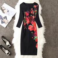 Fenghua 2017 Winter Autumn Dress Casual Floral Office Work Pencil Bodycon Dress Vintage Dress Plus Size