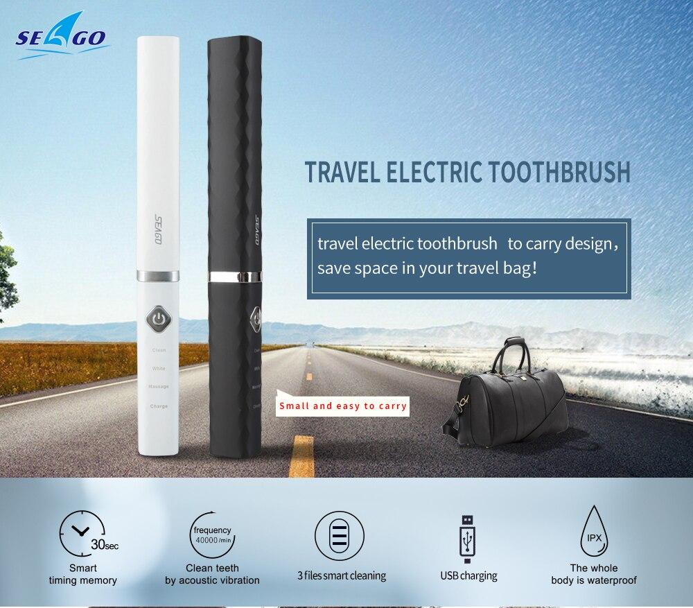 Seago Sonic cepillo de dientes eléctrico escova de dente USB recargable portátil cepillo de viaje adultos dientes blanqueamiento nueva llegada SG515