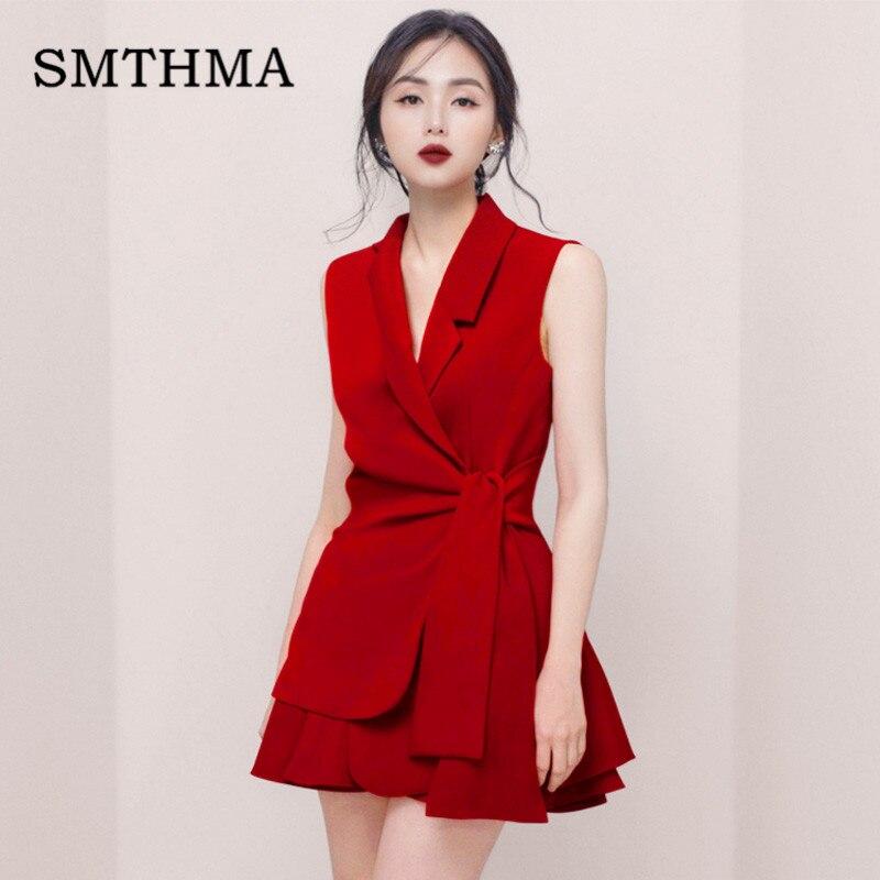 2019 New Fashion High Quality Summer Women's Sleeveless Jacket + Mini Skirt Solid Two-piece Skirt Set