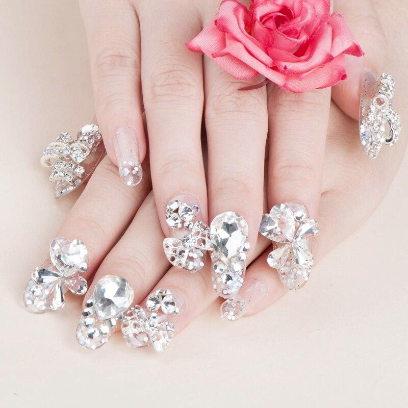 New 2015 Hot Crystal Pink Wedding Full Cover Fasles Bridal Nail DIY ...