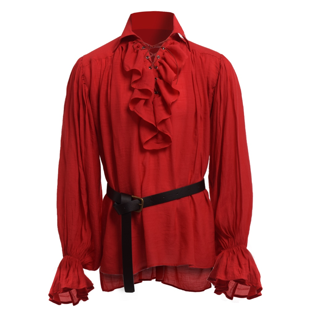 Pirate Costume Men Halloween Medieval Renaissance Gothic Colonial Vampire Gentle Shirt Blouse Tops with Waistbelt