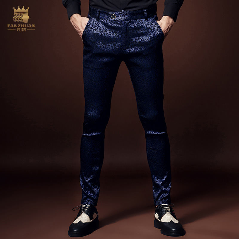 O Envio gratuito de New arrivals moda Masculina casuais do homem Outono flor grão escuro Festa boom microejection fino calças roxas 618056