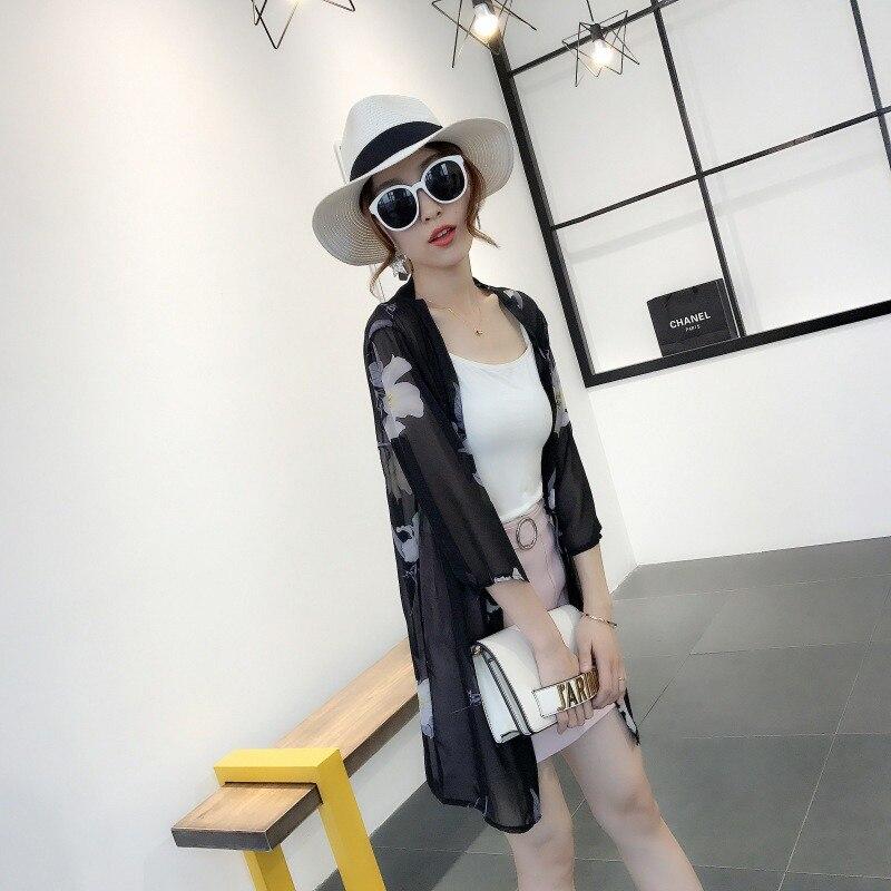 HTB1MF1xB8mWBuNkSndVq6AsApXaQ - Blusas Mujer De Moda  New Women Summer Chiffon Blouse Pinted Casual Kimono Cardigan Long Blouses Sunscreen Tops Plus Size