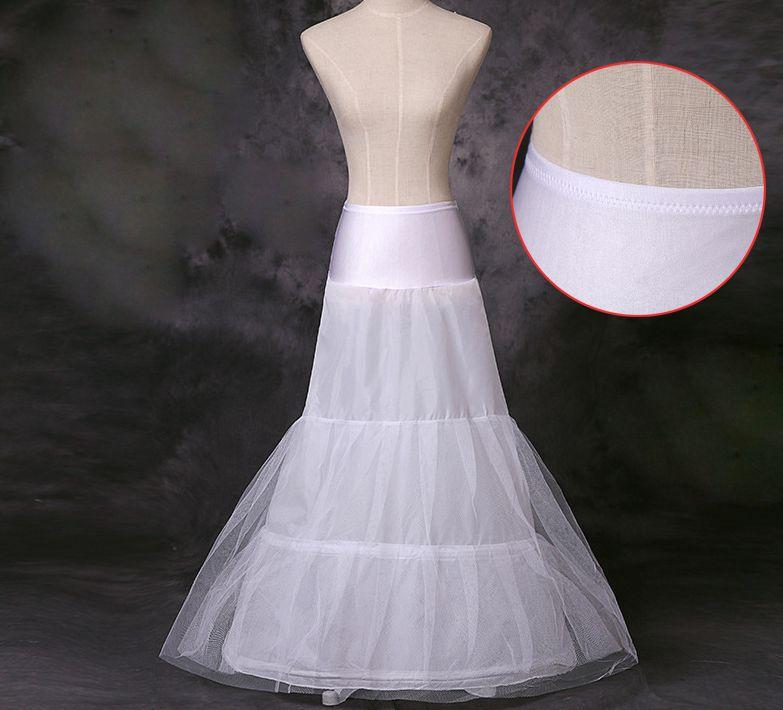 2018 White/Black Small Fishtail Skirt 2 Hoop Mermaid Trumpet Style Wedding Gown Petticoat Crinoline Slip