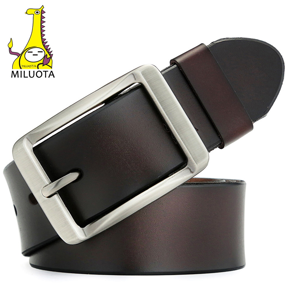 [MILUOTA] 2019 Men Belt Cow Genuine Leather Belt Men Fashion Strap Male Cinto Vintage Belt Brand Cinturones Para Hombre MU019