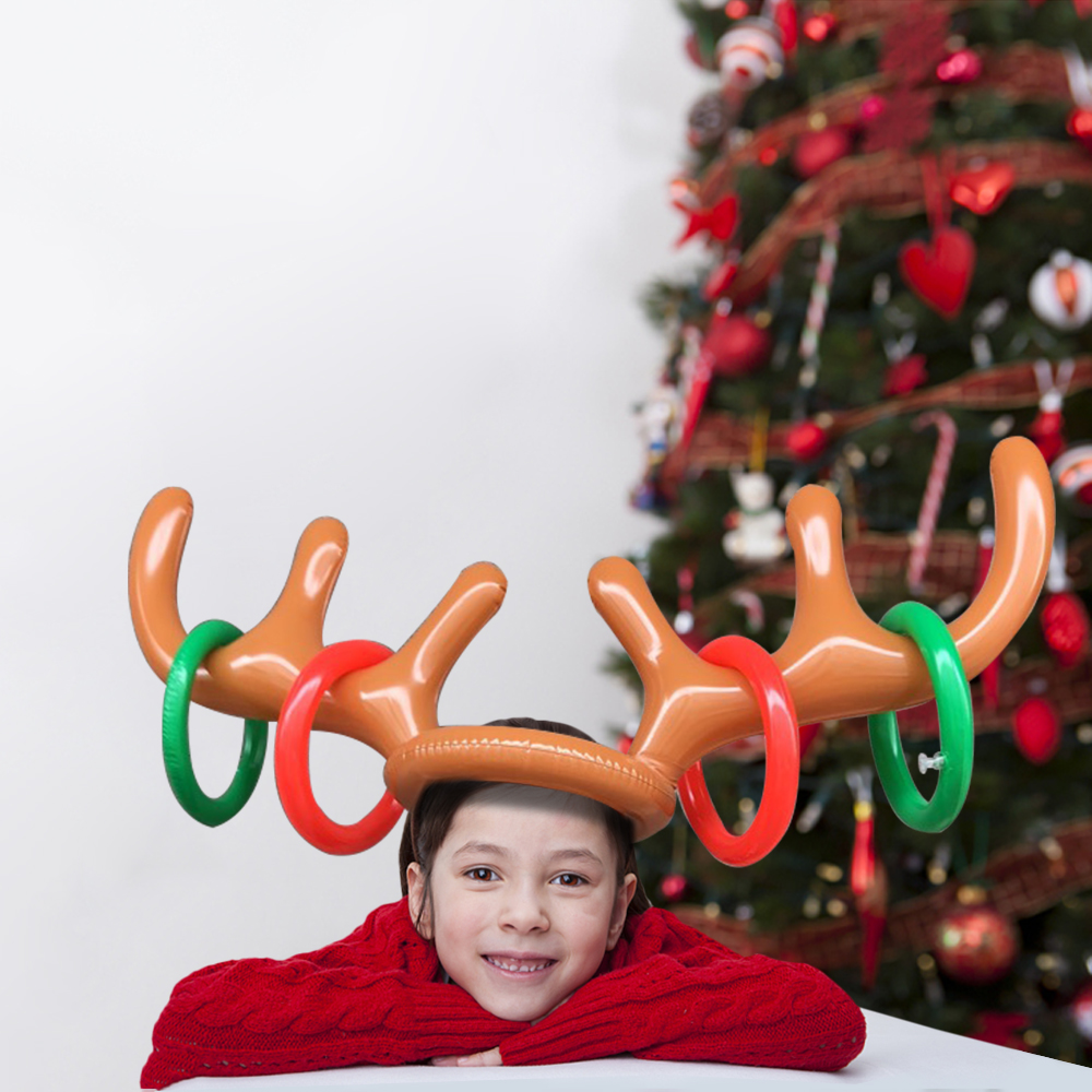 Funny Inflatable Reindeer Antler Hat Toy Ring Toss Game Kit with Hand Air Pump for Christmas Kids Adults Party Favor Playing Green
