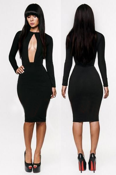 a8faecd470 Sexy tight cleavage women elegant black dress-in Dresses from ...