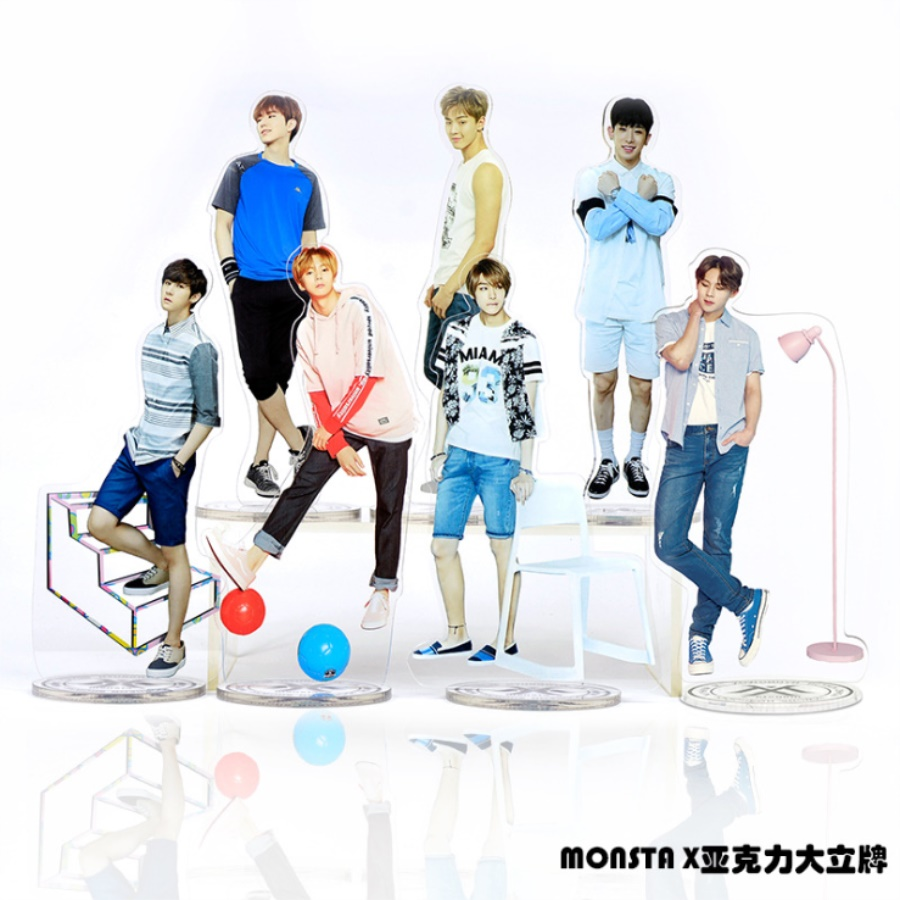 Kpop Monsta X Members Acrylic Standee Action Figure Doll Shownu Minhyuk IM Standing Table Decor 21cm