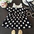 Новый бренд девушки точка shoulderless черное платье летние девушки повседневную одежду для детей и детская одежда