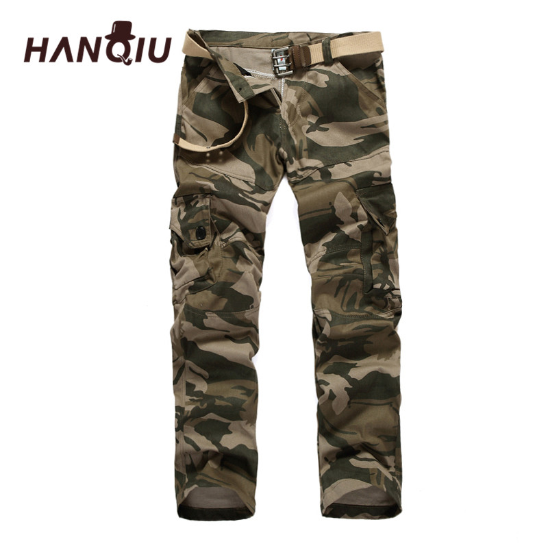 HANQIU Male Trousers Cargo-Pants Joggers Loose Camouflage Cotton Mens Casual Mid Mid-Waist