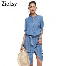 Zioksy новое женское летнее платье из джинсовой ткани однобортное модное асимметричное повседневное элегантное платье размера плюс