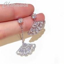 Charmwin S925 Silver Needle Dangle Earrings For Women Drop Earrings New Fashion Fan Rhinestone Asymmetry Earrings PE1665